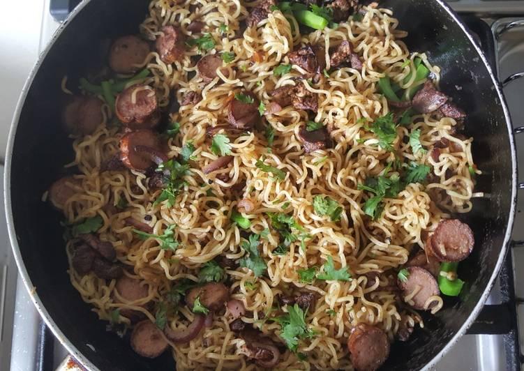 Chicken Liver & Sausage Noodles