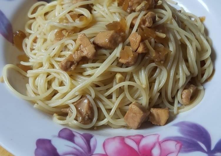 Spagheti ayam saus tiram