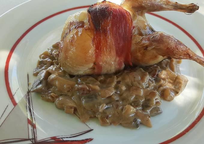 Cailles farcies au foie gras et aux raisins