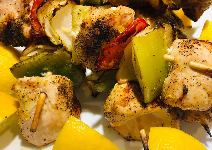 Recipe of Super Quick Homemade Quick Grilled Lemon Chicken Kabobs