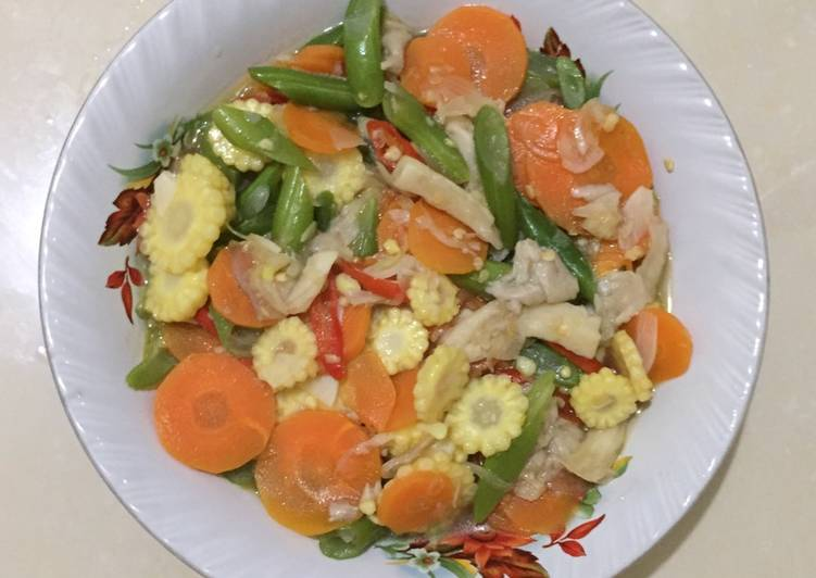 Tumis buncis wortel jamur jagung muda