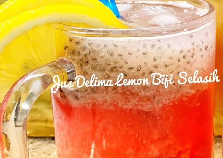 Jus Delima Lemon Biji Selasih - resepipouler.com