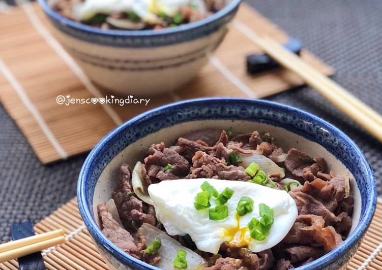 Gyudon with Poached Eggs