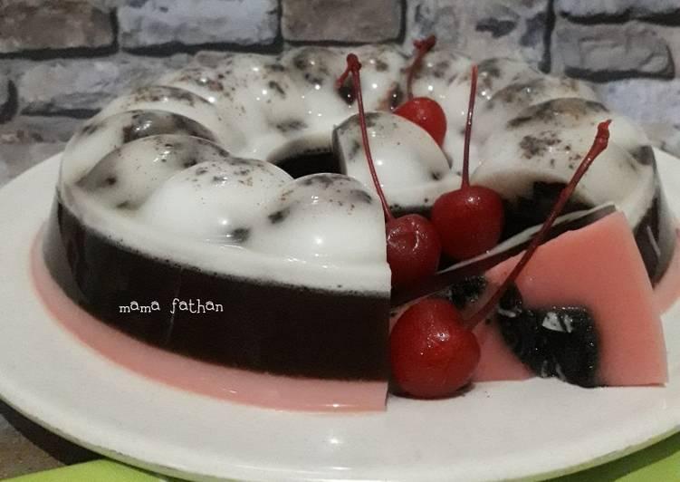 Resep Puding oreo coklat stroberi aka puding neapolitan yang Lezat Sekali