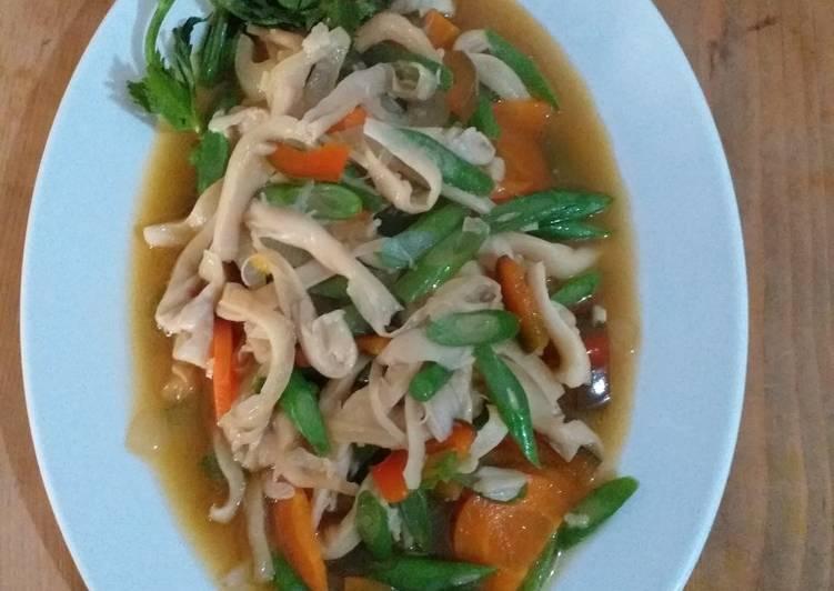 Tumis buncis,jamur tiram dan wortel