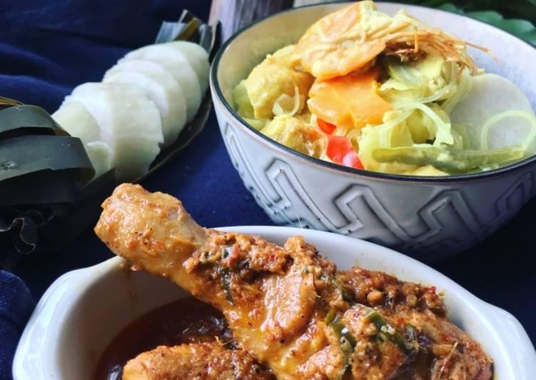 Lontong Berkuah Lodeh Bersama Rendang Ayam ala Gyna - velavinkabakery.com