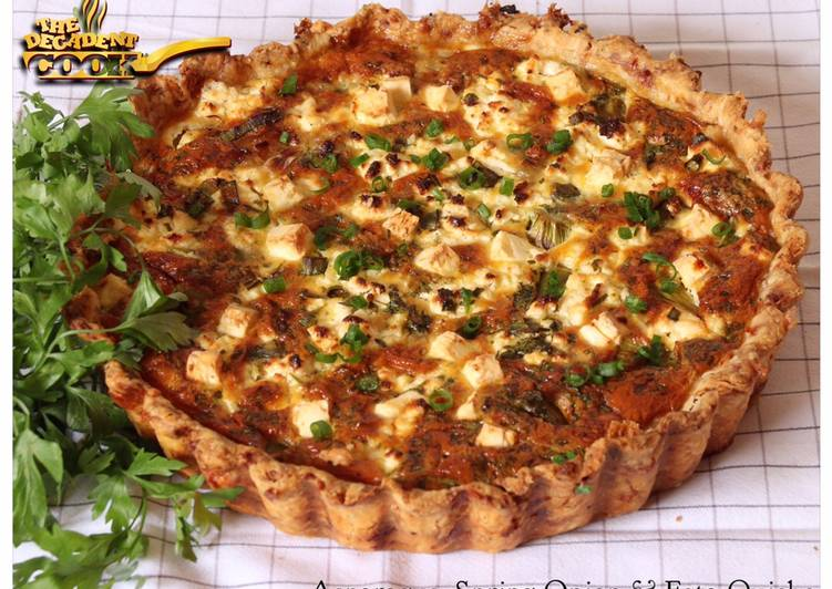 Asparagus, spring onion and feta quiche