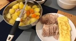 Hình ảnh món Dinner: Thịt luộc. Trứng rán. Canh cà rốt, khoai tây, thịt băm