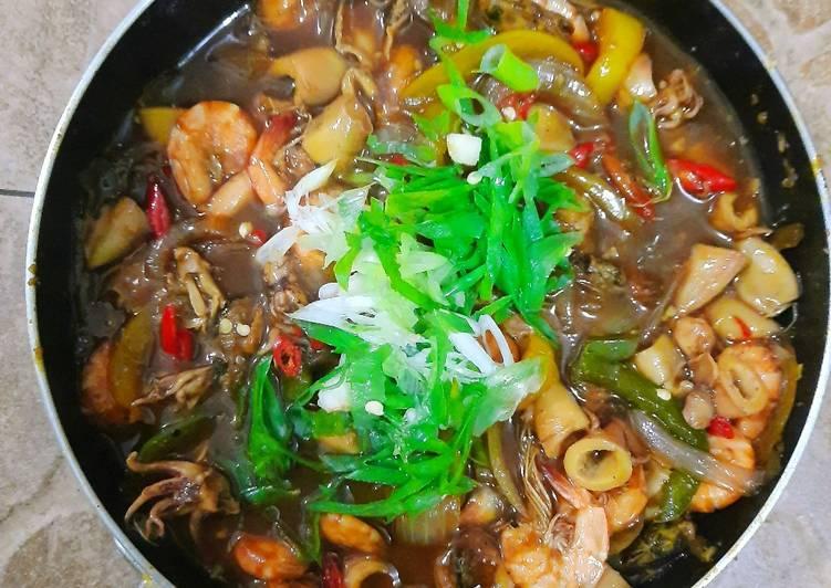 Seafood lada hitam/ Black Pepper Sauce sederhana