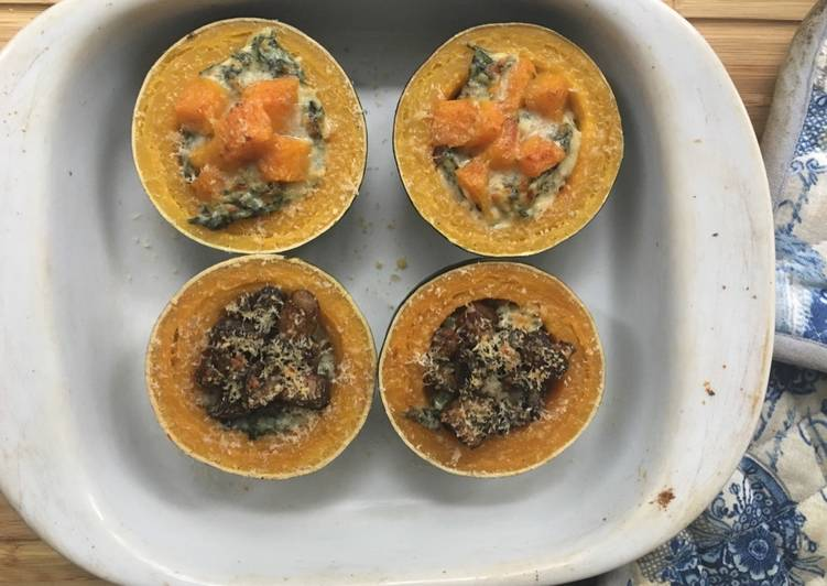 Recipe of Favorite Creamed Spinach and mushroom stuffed Gem Squash with butternut