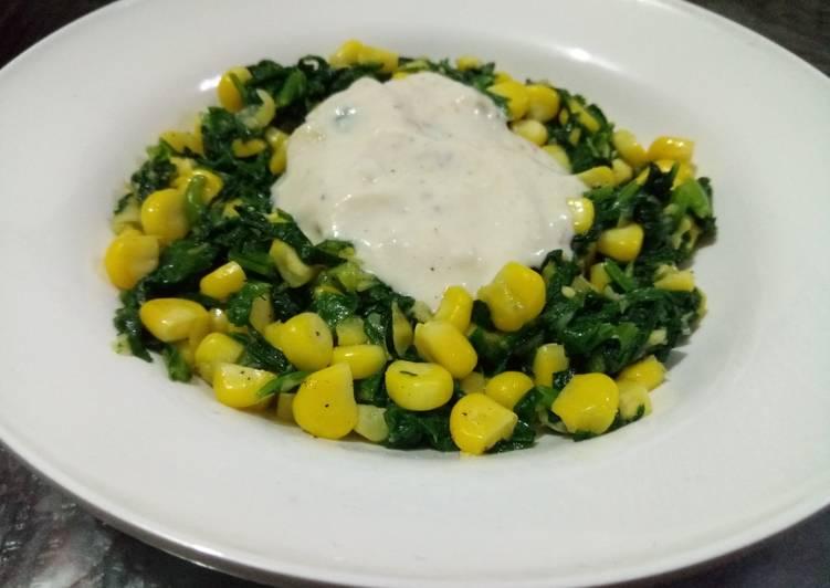 Spinach & corn creamy salad (Mexican salad)