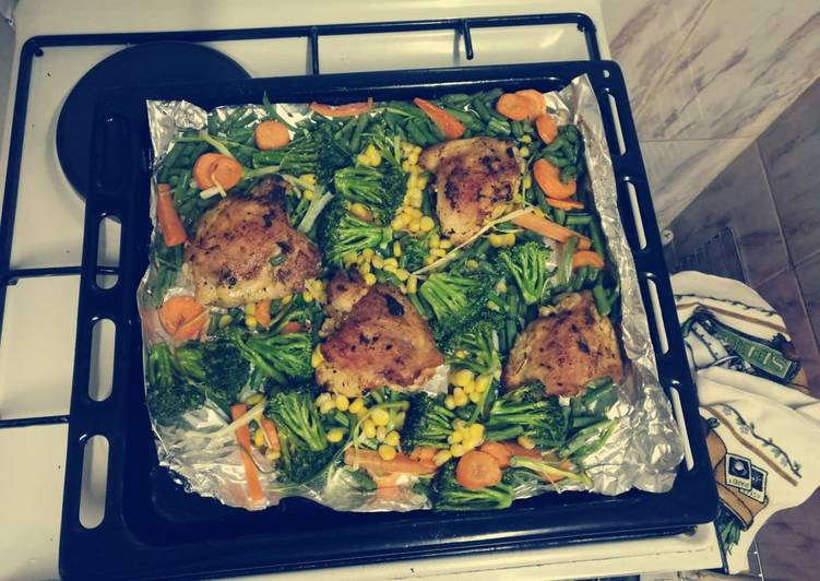 Easiest Way to Make Any-night-of-the-week Oven baked chicken and veggez