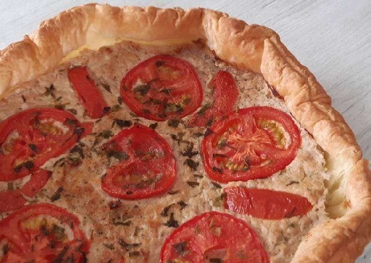 Tarte au thon tomate et toujours avec mes aromates de mon jardin