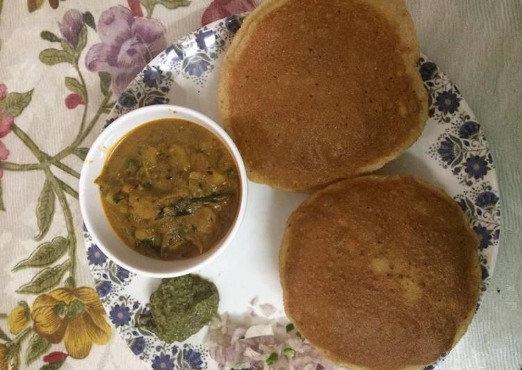 Crispy rava poori with potato sabji