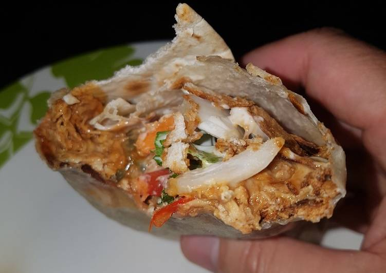 Sweet twisted pulled chicken wrap