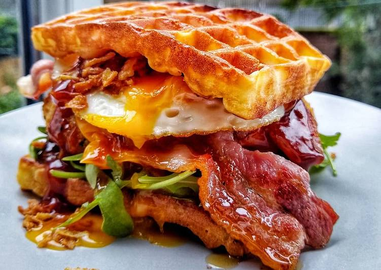 Southern Chicken Waffle Burger With Egg & Maple Glazed Bacon