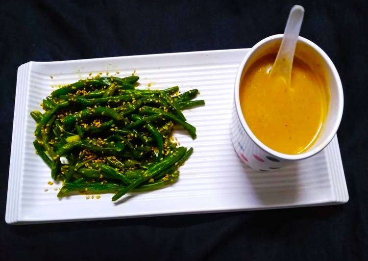 10 Minute Easiest Way to Prepare Diet Perfect Masoor Dal Soup with Roasted French beans