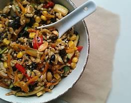 Arroz Integral con Verduras Salteadas y Más