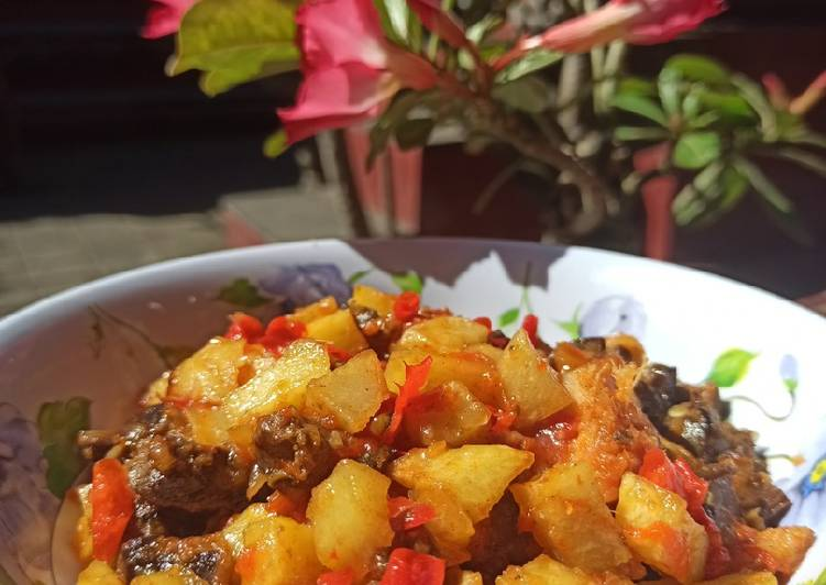 Potato Sambal With Chicken Liver and Gizzard