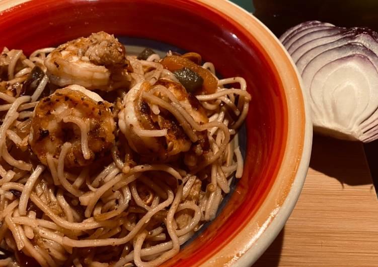 Cajun shrimp noodles
