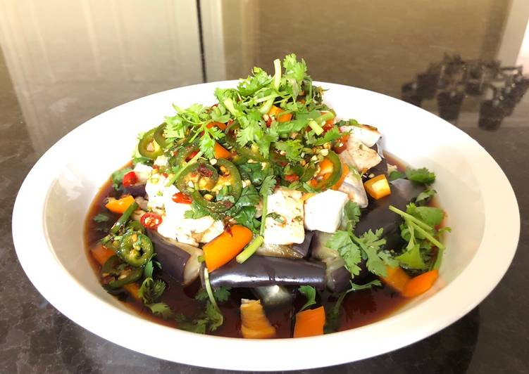 Spicy Steamed Eggplant & Tofu Salad with Ginger Soy Sauce
