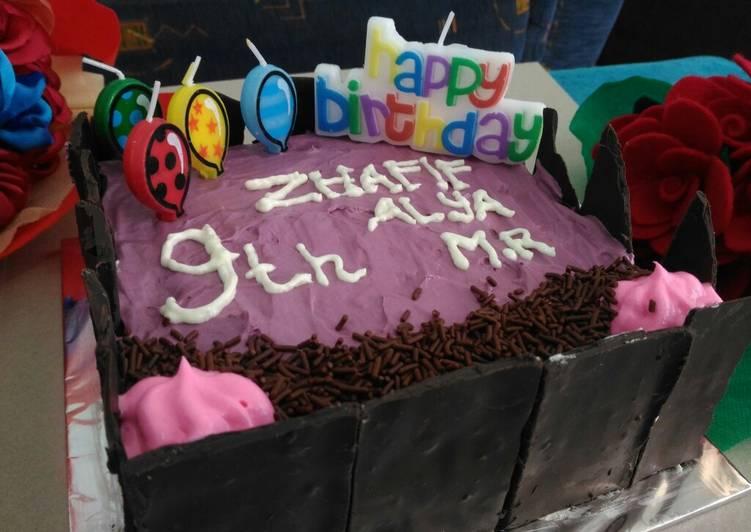 Bolu simple/ Cake ultah/ Whiped Cream/ Coklat Pagar - cookandrecipe.com