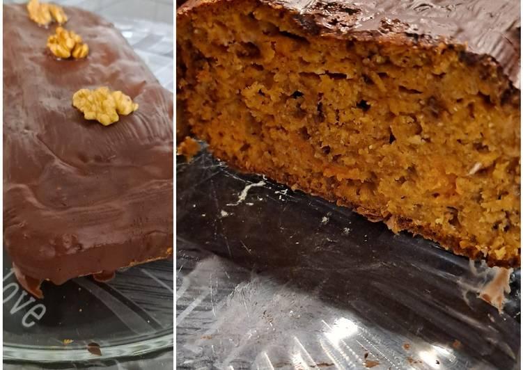 Recette: Gâteau butternut miel et noix healthy, glaçage chocolat 🍫