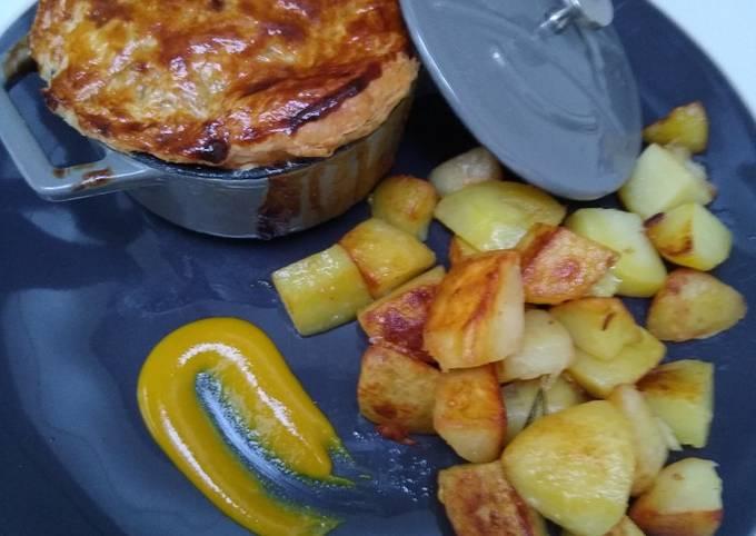 Chicken and Mushroom Pot Pie with Sautéed Potatoes
