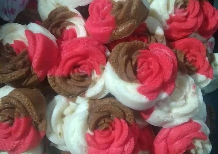 Bolu mawar kukus rainbow