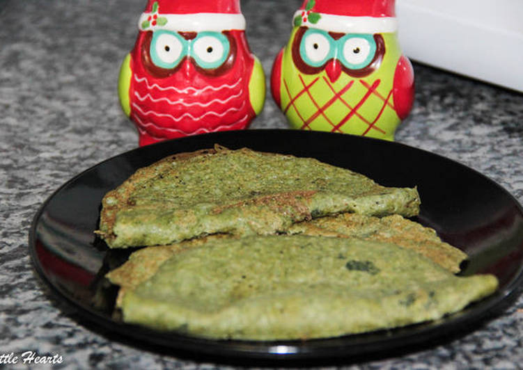 Spinach, Coriander, and Curry leaves Dosa- Green Leafy Vegetable Pancake