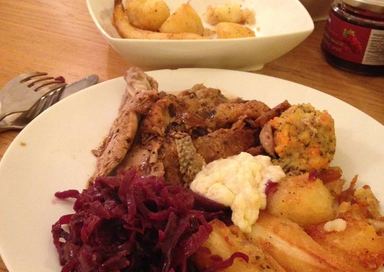 Roast Duck with Braised Red Cabbage and Bread Sauce