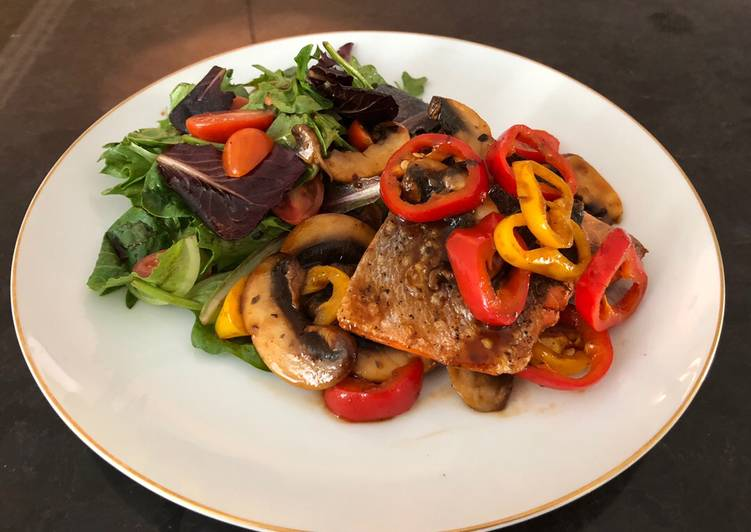 Grilled Salmon with Sautéed Mushrooms mixed Bell Peppers, and Greens Salad used BBQ Sauce