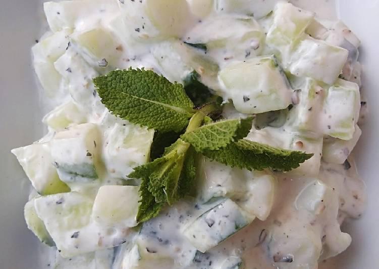 Salade de concombre fromage blanc et menthe