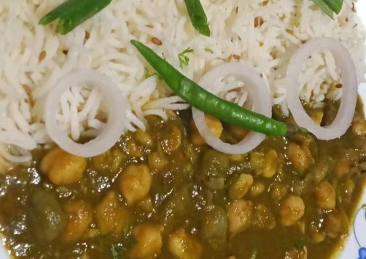 Palak chhole with Jeera rice