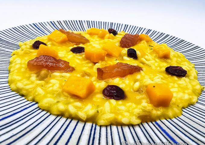 Risotto alla Zucca con Mostarda e Rosa Camuna Gluten Free