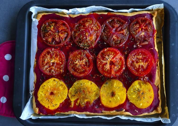 Tarte aux tomates colorées