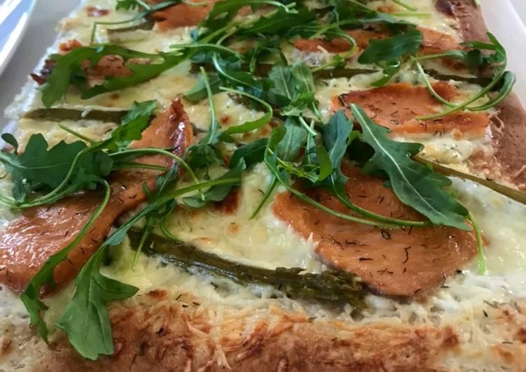 Recette: Pizza maison #healthy saumon-asperges vertes 🌱