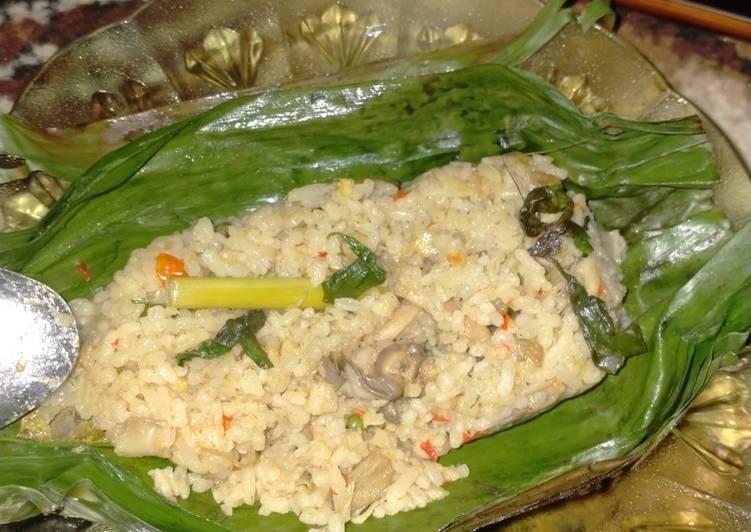 Nasi Bakar ayam suir dan jamur tiram