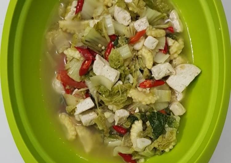 Resep Tumis sawi putih +jagung muda +tahu Yang Populer Pasti Endes