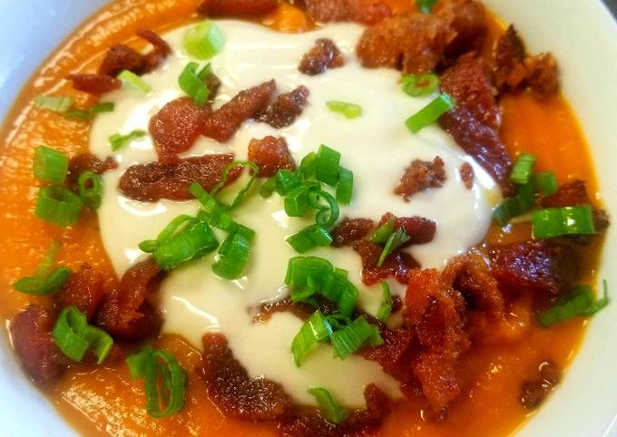 Sweet Potato Soup With Maple Sour Cream and Candied Bacon