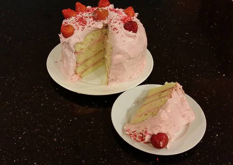 White Chocolate Layer Cake Filled with Strawberry Mousse and Frosted with Whipped Strawberry White Chocolate Ganache