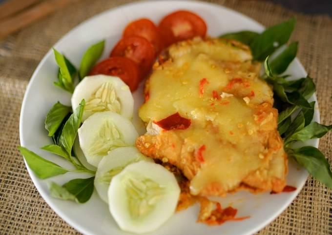 Ayam geprek keju mozarella