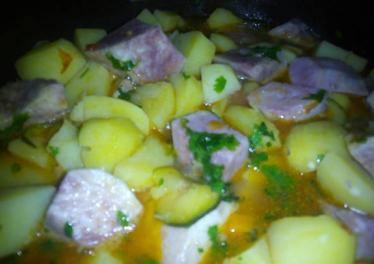 Arrowroot/Potato stew #4WeeksChallenge - Laurie G Edwards