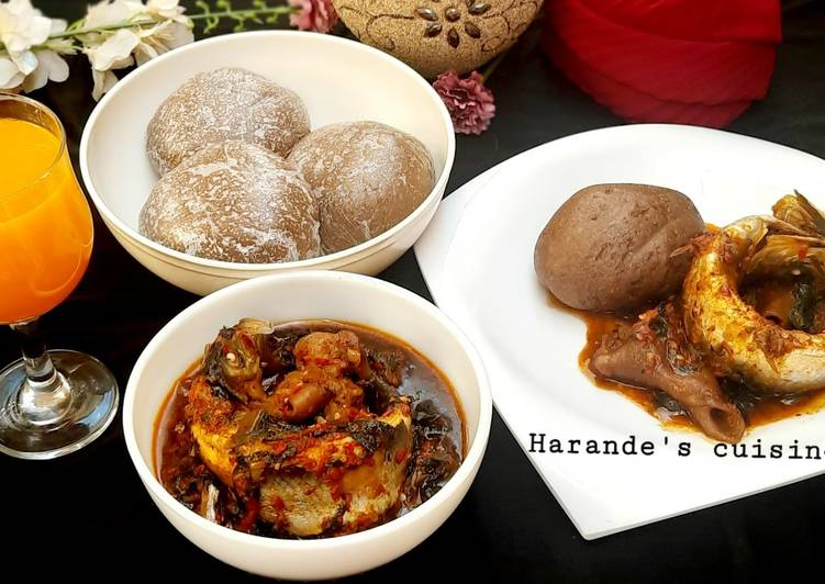 Recipe of Super Quick Homemade Amala with vegetable soup