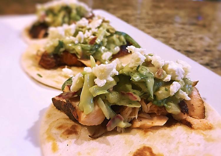 Easiest Way to Make Delicious Blackened salmon tacos with Spicy Avocado pear slaw