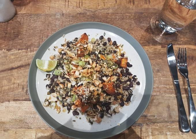Sweet potato black bean rice salad with chilli lime dressing