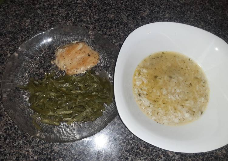 Buttery rice soup recipe w/ chicken breast &green beans