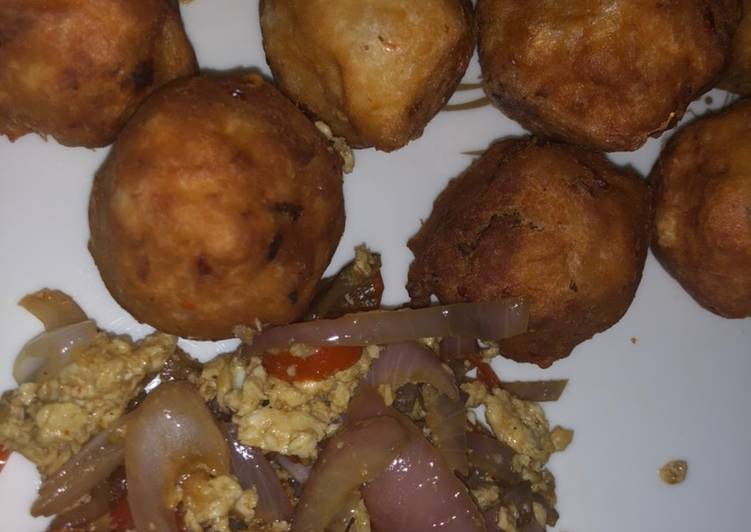 15 Minute Recipe of Blends Yam balls and egg sauce