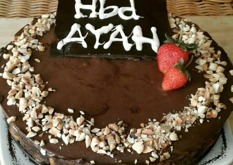 Birthday Cake Si Ayah ( No Bake Chocolate Biscuit Cake)