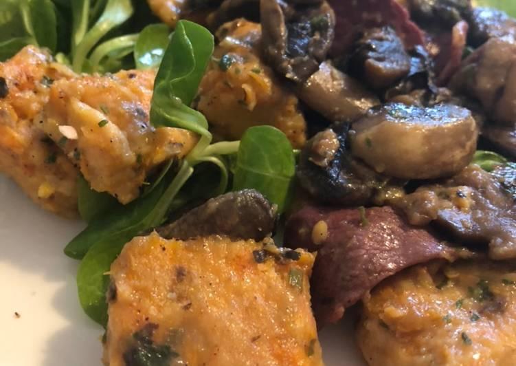 Gnocchi de patate douce accompagné de champignons et magret de canard